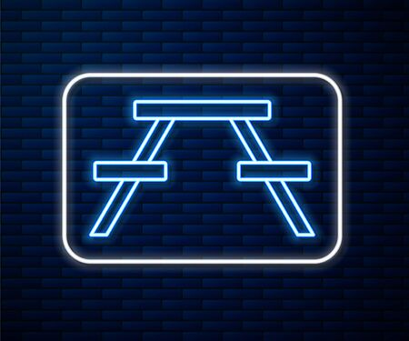 Glowing neon line Picnic table with benches on either side of the table icon isolated on brick wall background. Vector Illustration 일러스트