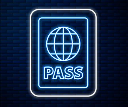 Glowing neon line Passport with biometric data icon isolated on brick wall background. Identification Document. Vector Illustration