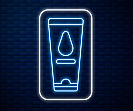 Glowing neon line Personal lubricant icon isolated on brick wall background. Lubricating gel. Cream for games. Tube with package box. Vector Illustration