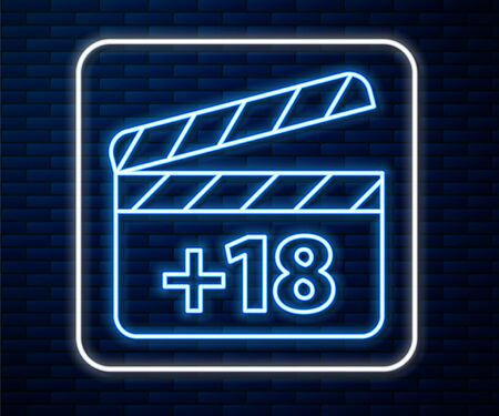 Glowing neon line Movie clapper with 18 plus content icon isolated on brick wall background. Age restriction symbol. Adult channel. Vector Illustration