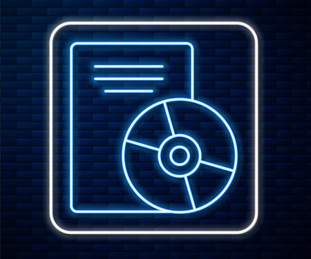 Glowing neon line CD or DVD disk icon isolated on brick wall background. Compact disc sign. Vector Illustration Vectores
