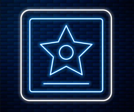 Glowing neon line star  icon isolated on brick wall background. Famous sidewalk, boulevard actor. Vector Illustration