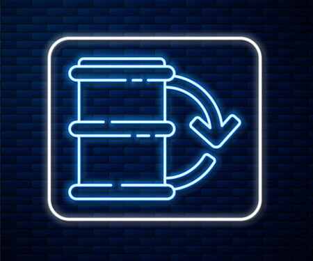 Glowing neon line Eco fuel barrel icon isolated on brick wall background. Eco bio and barrel. Green environment and recycle. Vector Illustration