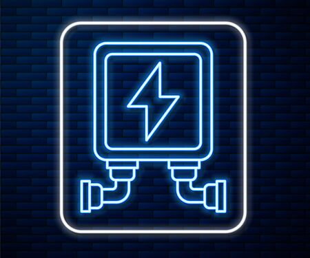 Glowing neon line Electric transformer icon isolated on brick wall background. Vector Illustration