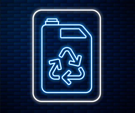 Glowing neon line Eco fuel canister icon isolated on brick wall background. Eco bio and barrel. Green environment and recycle. Vector Illustration