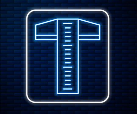 Glowing neon line T-square line for professional drafting icon isolated on brick wall background. Vector Illustration