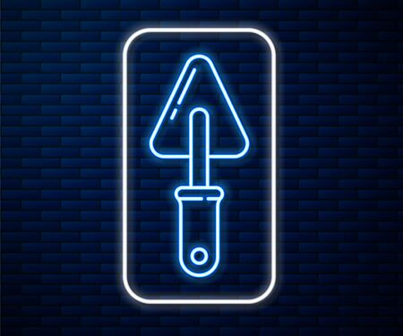 Glowing neon line Trowel icon isolated on brick wall background. Vector Illustration Illustration