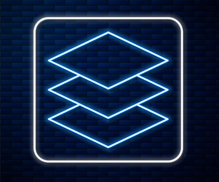 Glowing neon line Layers icon isolated on brick wall background. Vector Illustration