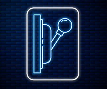 Glowing neon line Electrical panel icon isolated on brick wall background. Switch lever. Vector Illustration