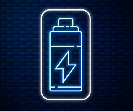 Glowing neon line Battery icon isolated on brick wall background. Lightning bolt symbol. Vector Illustration