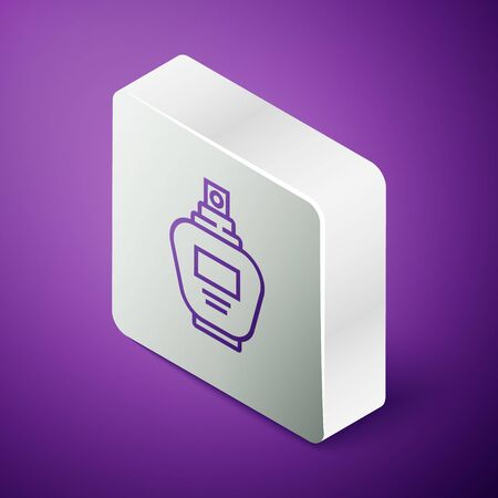Isometric line Perfume icon isolated on purple background. Silver square button. Vector Illustration