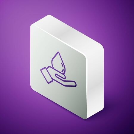 Isometric line Washing hands with soap icon isolated on purple background. Washing hands with soap to prevent virus and bacteria. Silver square button. Vector Illustration