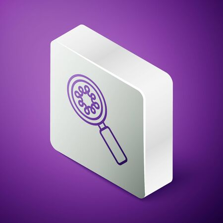 Isometric line Virus under magnifying glass icon isolated on purple background. Corona virus 2019-nCoV. Bacteria and germs, microbe, fungi. Silver square button. Vector Illustration