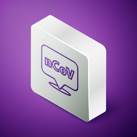 Isometric line Corona virus 2019-nCoV on location icon isolated on purple background. Bacteria and germs, cell cancer, microbe, fungi. Silver square button. Vector Illustration Banque d'images - 147869589