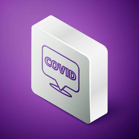 Isometric line Corona virus covid-19 on location icon isolated on purple background. Bacteria and germs, cell cancer, microbe, fungi. Silver square button. Vector Illustration