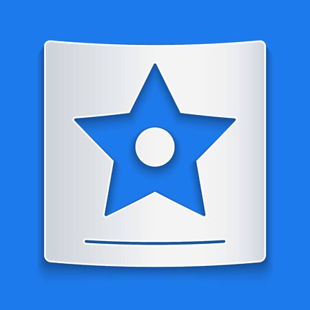 Paper cut star icon isolated on blue background.  Paper art style. Vector Illustration