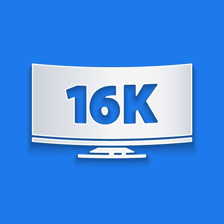 Paper cut Screen tv with 16k Ultra HD video technology icon isolated on blue background. Paper art style. Vector Illustration