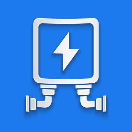 Paper cut Electric transformer icon isolated on blue background. Paper art style. Vector Illustration