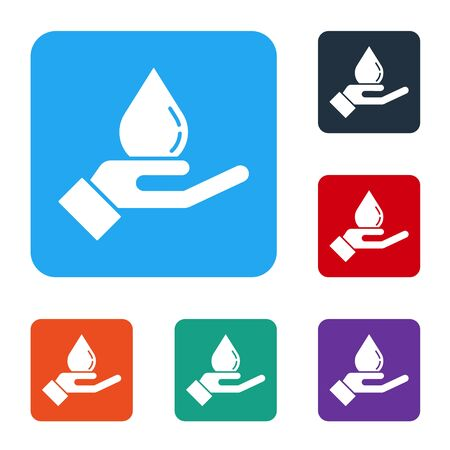 White Washing hands with soap icon isolated on white background. Washing hands with soap to prevent virus and bacteria. Set icons in color square buttons. Vector Illustration  イラスト・ベクター素材