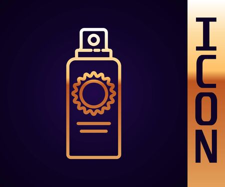 Gold line Sunscreen spray bottle icon isolated on black background. Protection for the skin from solar ultraviolet light. Vector Illustration