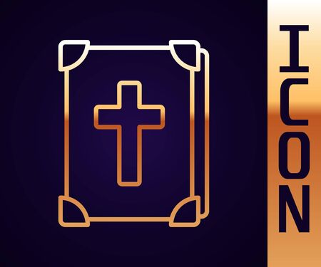 Gold line Holy bible book icon isolated on black background. Vector Illustration