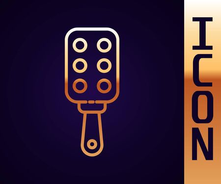 Gold line Spanking paddle icon isolated on black background. Fetish accessory. Sex toy for adult. Vector Illustration