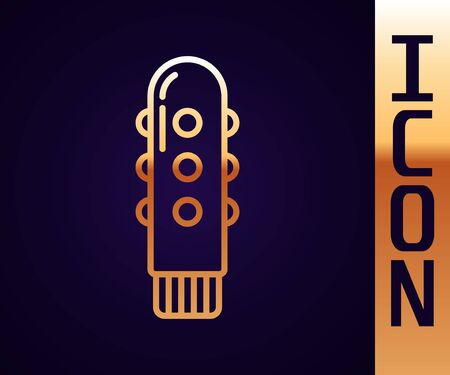 Gold line Dildo vibrator for sex games icon isolated on black background. Sex toy for adult. Vaginal exercise machines for intimate. Vector Illustration