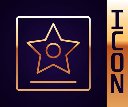 Gold line star icon isolated on black background.