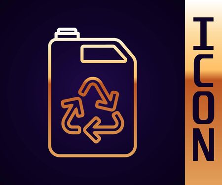 Gold line Eco fuel canister icon isolated on black background. Eco bio and barrel. Green environment and recycle. Vector Illustration