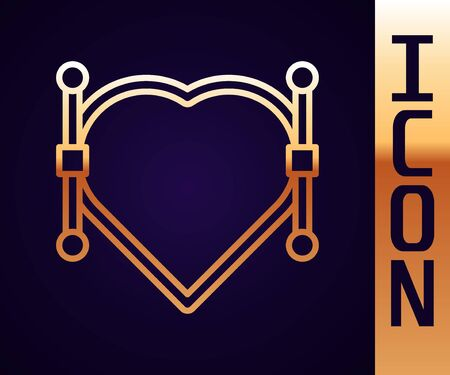 Gold line Heart with Bezier curve icon isolated on black background. Pen tool icon. Vector Illustration Illustration