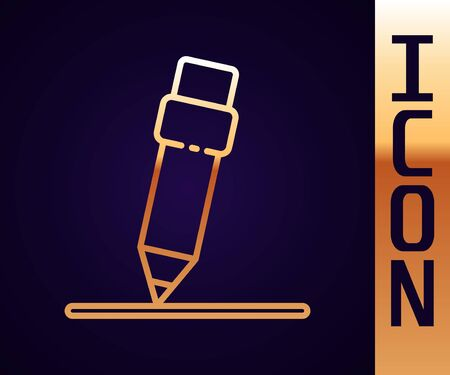 Gold line Pencil with eraser icon isolated on black background. Drawing and educational tools. School office symbol. Vector Illustration