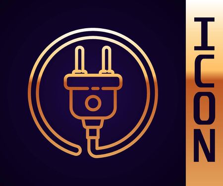 Gold line Electric plug icon isolated on black background. Concept of connection and disconnection of the electricity. Vector Illustration