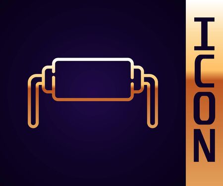 Gold line Resistor electricity icon isolated on black background. Vector Illustration