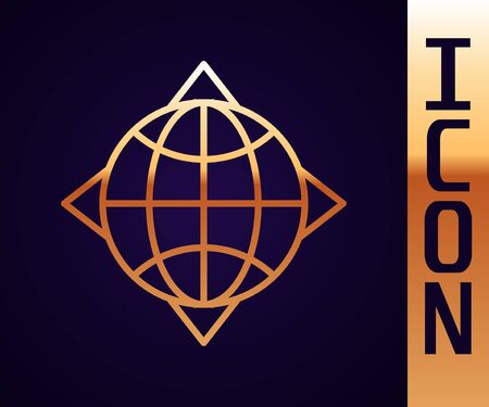 Gold line World globe with compass icon isolated on black background. Vector Illustration