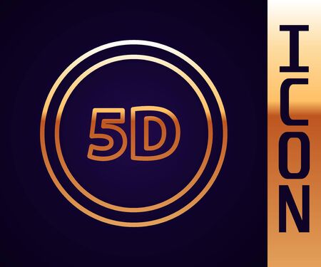 Gold line 5d virtual reality icon isolated on black background. Large three-dimensional  . Vector Illustration