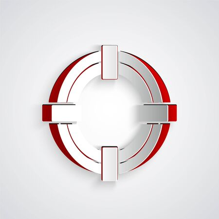 Paper cut Lifebuoy icon isolated on grey background. Life saving floating lifebuoy for beach, rescue belt for saving people. Paper art style. Vector Illustration