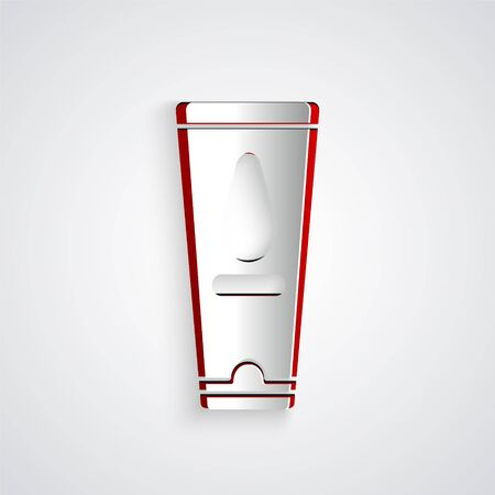 Paper cut Personal lubricant icon isolated on grey background. Lubricating gel. Cream for games. Tube with package box. Paper art style. Vector Illustration