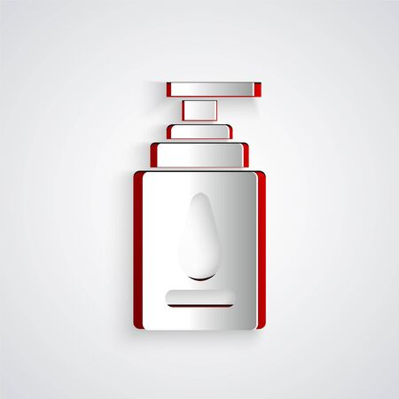 Paper cut Personal lubricant icon isolated on grey background. Lubricating gel. Cream for games. Tube with package box. Paper art style. Vector Illustration Vektorové ilustrace