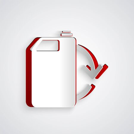 Paper cut Eco fuel canister icon isolated on grey background. Eco bio and barrel. Green environment and recycle. Paper art style. Vector Illustration Stock Illustratie