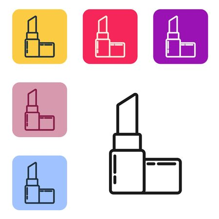 Black line Lipstick icon isolated on white background. 8 March. International Happy Women Day. Set icons in color square buttons. Vector Illustration Vektorgrafik