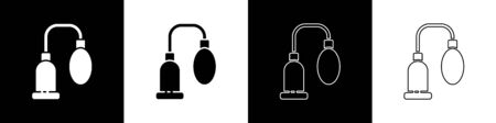 Set Penis pump icon isolated on black and white background. Penis enlarger. Sex toy for men. Vacuum pump with a blower to increase the penis. Vector Illustration