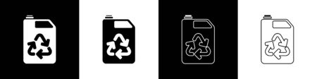 Set Eco fuel canister icon isolated on black and white background. Eco bio and barrel. Green environment and recycle. Vector Illustration Stock Illustratie