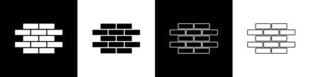 Set Bricks icon isolated on black and white background.  Vector Illustration