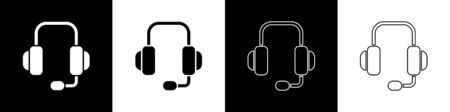 Set Headphones icon isolated on black and white background. Support customer service, hotline, call center, faq, maintenance. Vector Illustration Archivio Fotografico - 145233758