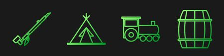 Set line Retro train, Native American indian smoking pipe, Indian teepee or wigwam and Wooden barrel. Gradient color icons. Vector