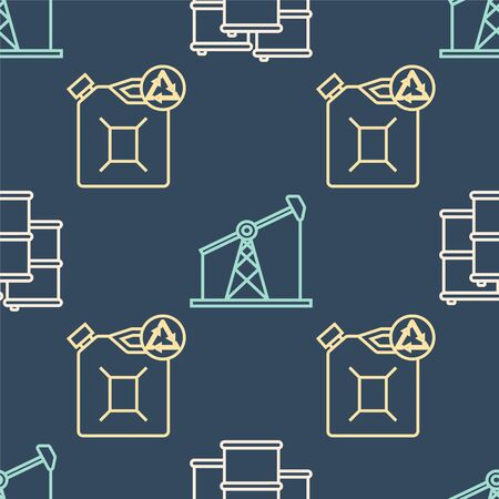 Set line Barrel oil, Eco fuel canister and Oil pump or pump jack on seamless pattern. Vector