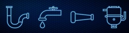 Set line Industry metallic pipe, Industry metallic pipe, Water tap and Electric boiler for heating water. Glowing neon icon on brick wall. Vector