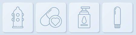 Set line Condom, Personal lubricant, Pills for potency, aphrodisiac and Dildo vibrator. White square button. Vector