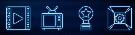 Set line Movie trophy, Play Video, Retro tv and Movie spotlight. Glowing neon icon on brick wall. Vector