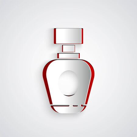 Paper cut Perfume icon isolated on grey background. Paper art style. Vector Illustration